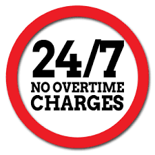 24/7 No Overtime Charges
